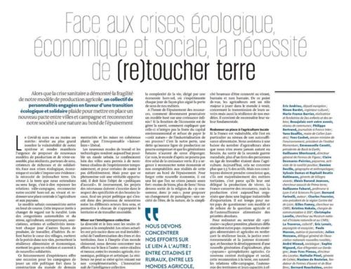 Tribune «Face aux crises écologique, économique et sociale, la nécessité de (re)toucher terre»