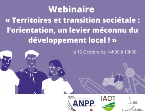 Webinaire «Territoires et transition sociétale: l'orientation, un levier méconnu du développement local»